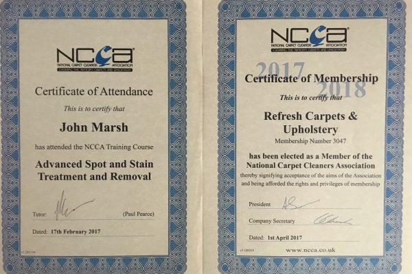 Morecambe carpet cleaner. NCCA certificate for John Marsh at Refresh carpets and upholstery.